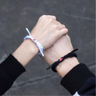學生情侶手環一對情侶款手繩一對鞋帶手環男女學生實用小獅子手鏈編織全息手環