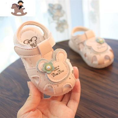 2020夏款包頭寶寶涼鞋女童公主鞋子學步鞋卡通粉色防撞皮鞋韓版 YueBin