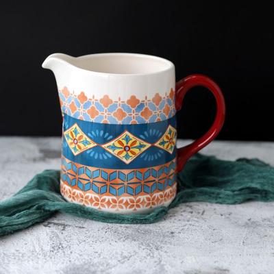 异域波西米亚陶瓷摆件花插花瓶花罐冷水壶凉开水罐釉下彩陶瓷