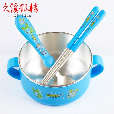 久溪銀樓S999足銀寶寶碗筷勺禮盒套裝純銀兒童防燙餐具銀禮滿月周歲