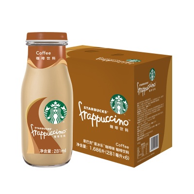 starbucks/星巴克星冰樂咖啡味咖啡飲料281ml*6瓶裝