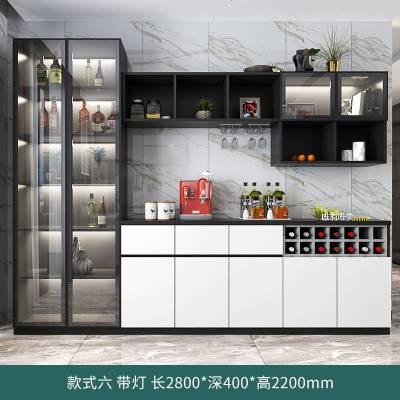 顧致輕奢玻璃酒柜現代簡約靠墻餐邊柜一體定制客廳柜子家用餐廳儲物柜