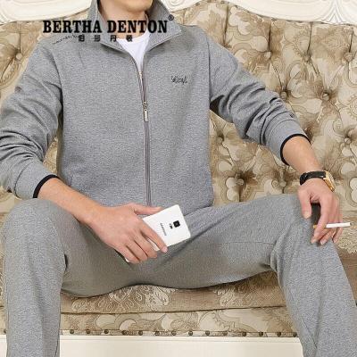 伯莎丹頓品牌高檔中老年運動服套裝男春秋加肥加大碼老年人男士運動套裝三件套(保養1-5天發貨)