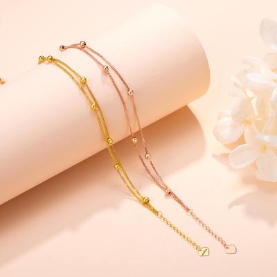 【2020新款】老廟黃金 18K金手鏈Au750極簡基本款雙層金豆豆金珠圓珠手鏈