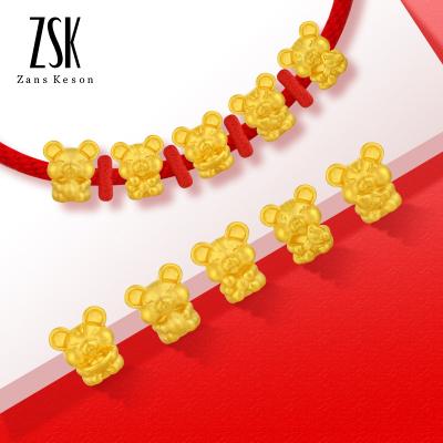 【長度可調節】ZSK珠寶黃金手鏈足金999鼠年生肖五福鼠本命年紅繩手鏈男女3D硬足金 五福鼠紅繩手鏈 黃金飾品 珠寶首飾