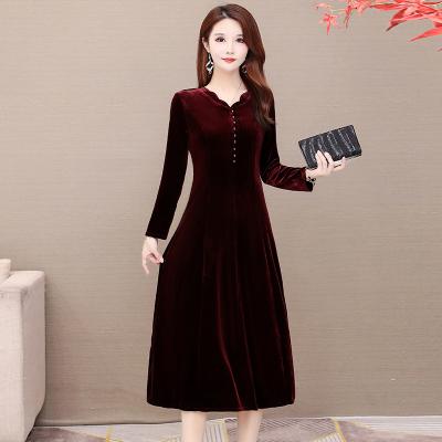 名麗斯金絲絨連衣裙秋裝2020年新款氣質女人味中年媽媽裝打底裙中老年女裝