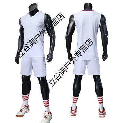新款排球服套裝隊服 無袖運動服定制速干透氣男女排球比賽訓練服