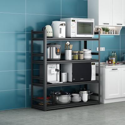 廚房置物架微波爐烤箱收納架落地式多層黑色家用放鍋帶圍欄儲物架