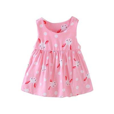 珍妮羊兒童夏天睡裙寶寶連衣裙夏季印花裙棉綢小女孩無袖A字裙女童裝