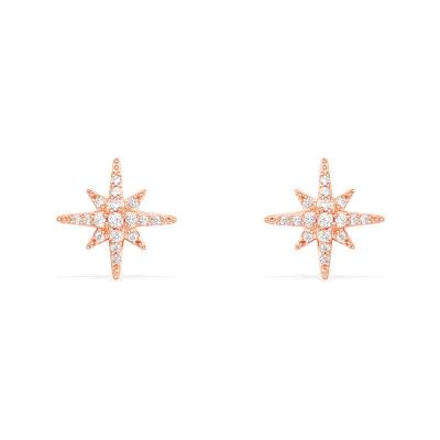 APM Monaco六芒星耳釘流星星耳環女士玫瑰金色S925銀鋯石耳環RE8419OX