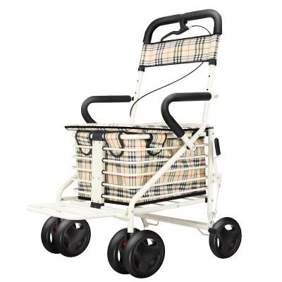 老年代步車折疊購物車座椅可坐四輪買菜助步可推小拉車老人手推車