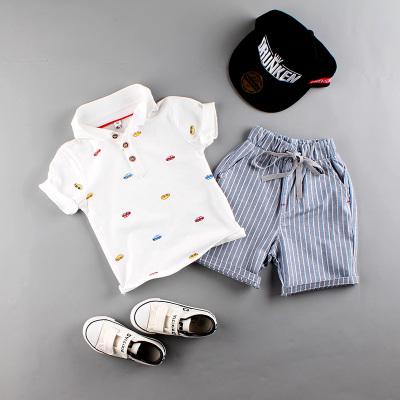 男童夏裝兩件套裝新款兒童寶寶男孩夏季翻領短袖POLO衫韓版童裝潮莎丞(SHACHEN)