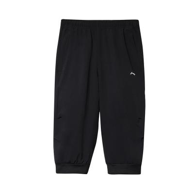 李寧童裝男大童7-12歲跑步系列青少年夏季休閑七分運動褲YKQP075