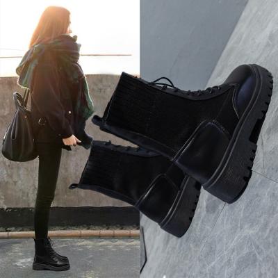 馬丁靴女英倫風夏季透氣薄款飛織單靴百搭潮ins機車短靴靴子