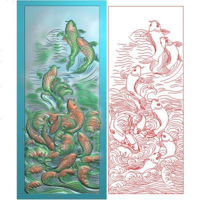 九鱼屏风精雕图鲤鱼跃龙波浪富贵有余年年有鱼挂屏风背板雕刻图