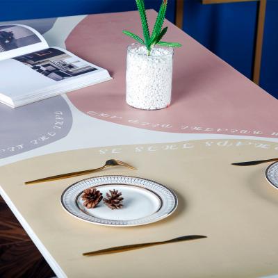 幸福派 北歐輕奢現代簡約防水防油防燙免洗pvc皮革茶幾餐桌墊化妝臺桌布