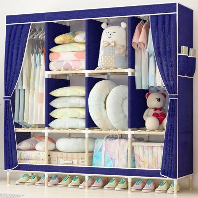 家时光 简易布衣柜实木加固牛津布衣橱易拼装简约经济型布艺收纳布衣柜