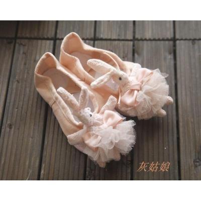 热卖儿童舞蹈鞋 裙装配件 演出芭蕾舞鞋 可爱蕾丝兔子花球 正品练功鞋