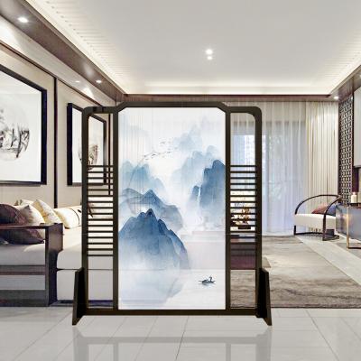 新中式客厅移动布艺实木座屏欧式雕花玄关办公室简约现代隔断屏风定制!