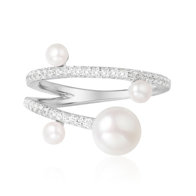 【apm MONACO】趙麗穎同款大小天然珍珠925銀戒指時尚百搭鑲晶鉆指環首飾女士指戒A17756XPL