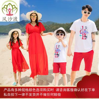 海边度假沙滩亲子装夏装母女装红色连衣裙红色洋气女童裙图片件数为展示