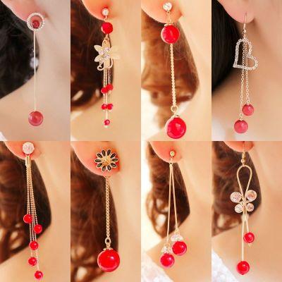 尚谷伊美【買1送1】s925防過敏耳墜紅色耳環長款流蘇耳飾耳釘時尚百搭飾品