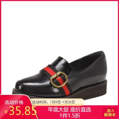 SHOEBOX/鞋柜浅口中跟单鞋女时尚英伦鞋子女1118101702