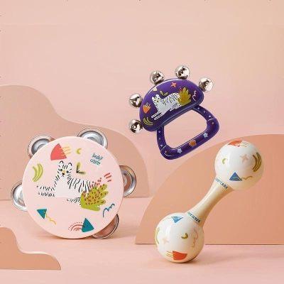 預售至9月25日發貨 babycare嬰兒鈴鼓奧爾夫手搖鈴3-6個月新生寶寶0-1歲益智早教玩具套裝 鈴鼓+手搖鈴+沙錘