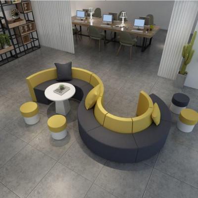 布藝弧形圓形休閑異形時尚創意簡約接待會客s形沙發茶幾組合定制