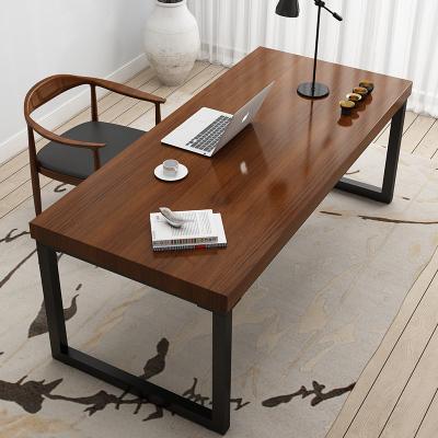 金沙公爵 实木铁艺电脑桌北欧书桌台式家用卧室学习写字台简约现代简易办公桌子