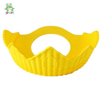 DuDi/青蛙嘟迪 母嬰幼兒童趣味硅膠兒童防水護耳幼兒小孩洗澡洗頭發浴帽可調節 檸檬黃