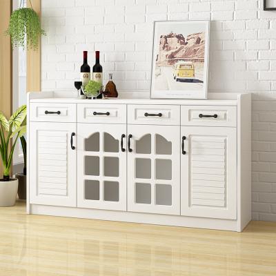 皇海家具 餐邊柜 現代簡約免漆吸膜儲物柜多功能大容量收納酒櫥餐廳茶水柜子 創意A66白