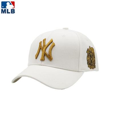 MLB正品夏季新款情侶款棒球帽男女款鴨舌帽刺繡金標側邊印章遮陽帽子
