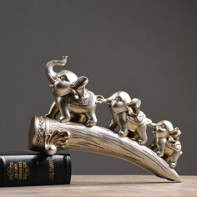 欧式家居装饰品客厅电视柜玄关酒柜摆件三只小象办公室工艺品大象