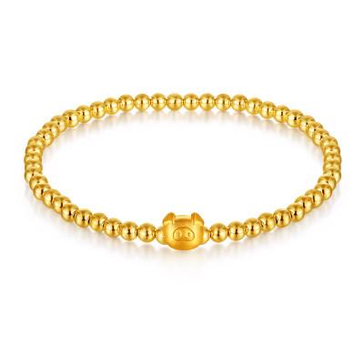SEAZA喜鉆 轉運珠999黃金手鏈豬年百搭款首飾盒常備款優雅足金手鏈