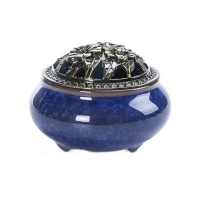 創意插香薰爐臥室檀香爐盤香爐陶瓷小號創意仿古銅蓋香爐擺件-冰裂盤香爐寶石藍