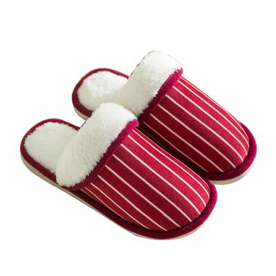 羊骑士2019条纹日式家居室内防滑棉拖鞋 冬季情侣毛绒拖鞋男 家用软底保暖棉拖女