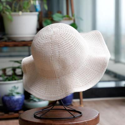 禮帽女春秋夏季日系文藝針織純色可折疊盆帽漁夫帽出游防曬遮陽帽