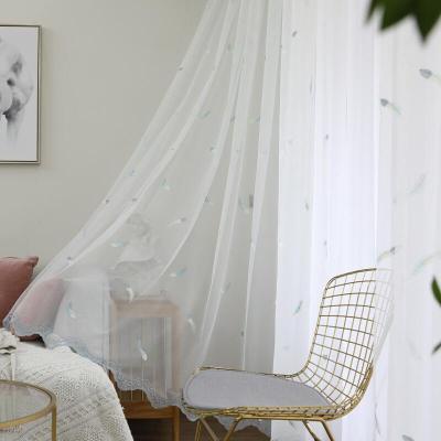 小清新羽毛紗簾處理白色成品陽臺飄窗客廳窗紗沙簾魔術貼