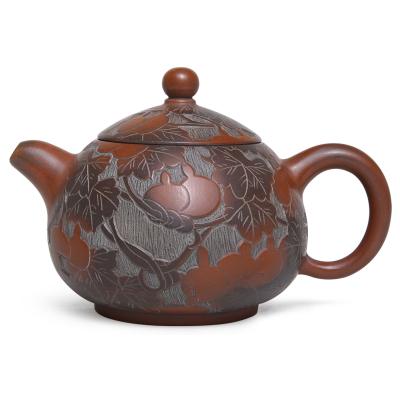 廣西欽州坭興陶茶壺滿福祿壺純手工西施葫蘆雕刻泥興陶壺