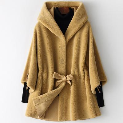 憨厚皇后 2019海宁春季新款羊毛皮大衣女中长款连帽羊剪毛外套W