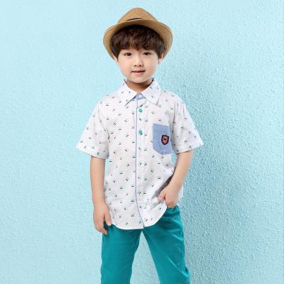 叮當貓大眼蛙童裝夏季新款百搭男童襯衣兒童印花襯衫寶寶純棉上衣潮