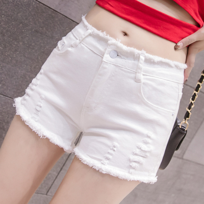 芷臻zhizhen2020白色牛仔短褲女夏季新款百搭破洞彈力韓版緊身顯瘦ins潮熱褲女士牛仔褲