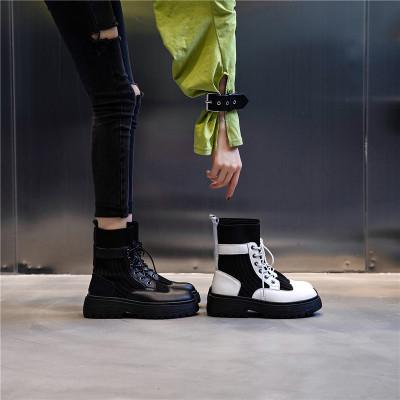 策霸靴子女2020新款英倫風中筒真皮女鞋時尚彈力短襪馬丁靴女潮