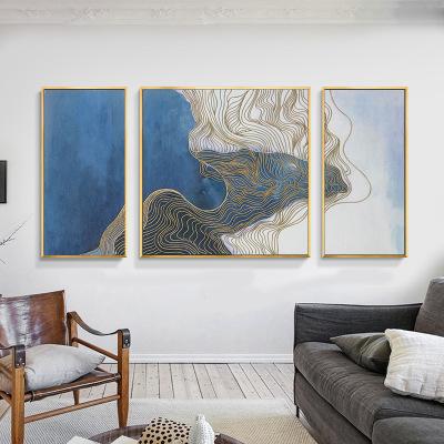 简约新中式客厅装饰画 大气时尚三联画 沙发背景墙抽象壁画 线条挂画