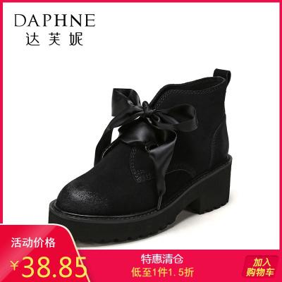 SHOEBOX/鞋柜女鞋短靴馬丁靴時尚布條前系帶短靴女靴1117505340