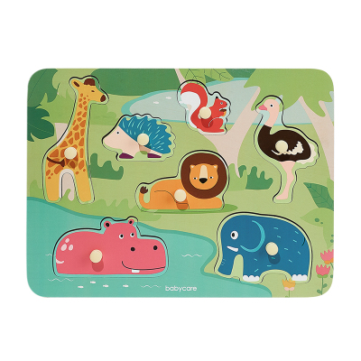 babycare宝宝手抓板拼图 数字字母积木木制1-3岁儿童早教益智玩具 纳克里森林 7288