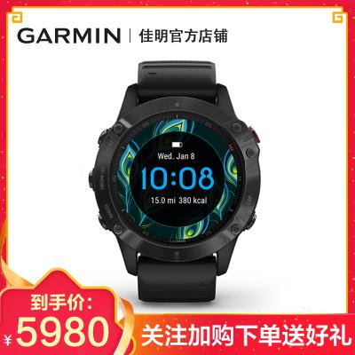 Garmin佳明 飞耐时Fenix6 Pro户外智能手表身体电量运动血氧音乐支付跑步越野GPS导航腕表 黑色表圈黑色表带