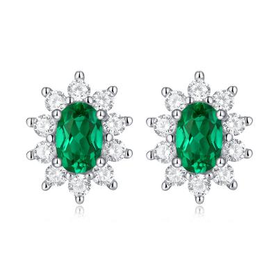 【錢掌柜】蒼嵐 祖母綠綠寶石銀飾925銀 耳釘 歐美原單復古港風送女友