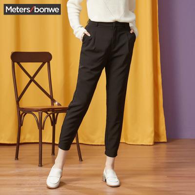 【1件3折价:31.5】美特斯邦威春装新款甜美休闲裤女束脚裤垮裤女宽松商场款PK